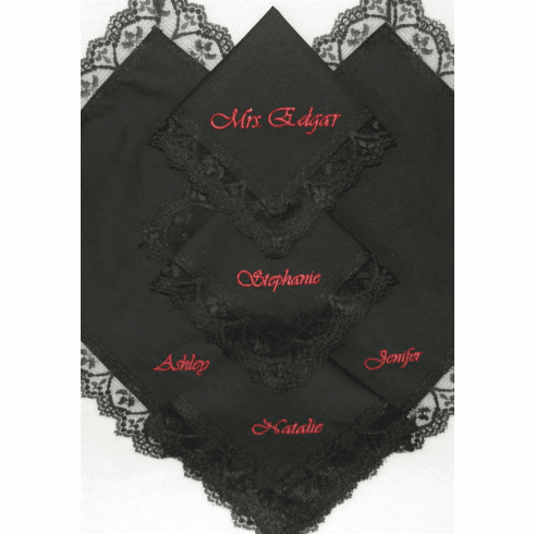 Personalization Included Black Lace Trimmed Handkerchief Handmade
