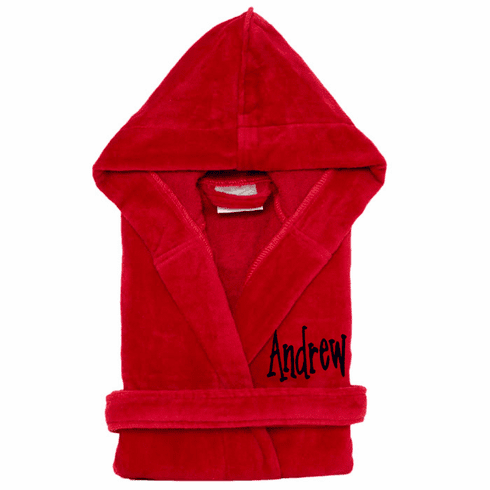 Personalized 100% Cotton Child's Size Terry Velour Robe Burgundy