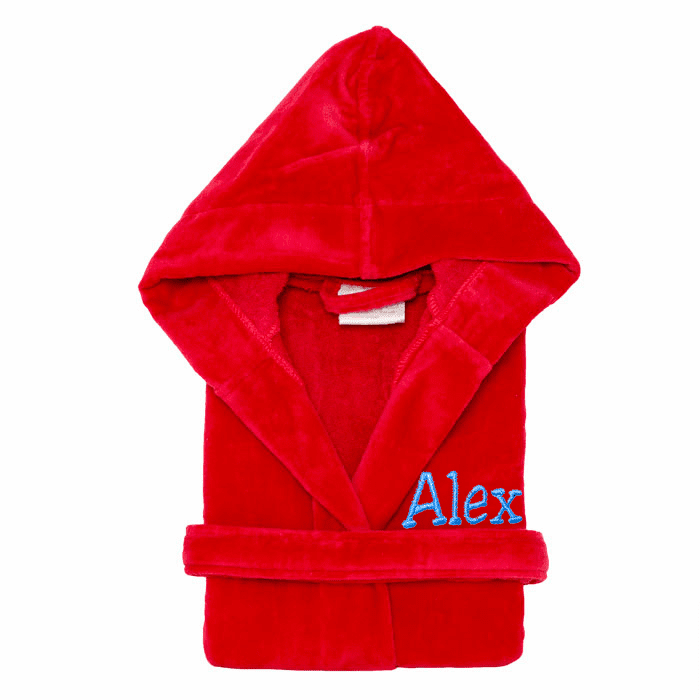 Personalized 100% Cotton Child�s Size Terry Velour Robe Red