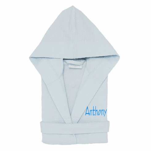 Personalized 100% Cotton Child's Size Waffle Robe Light Blue