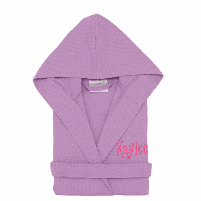 Personalized 100% Cotton Child's Size Waffle Robe Lilac