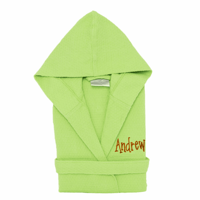 Personalized 100% Cotton Child's Size Waffle Robe Lime