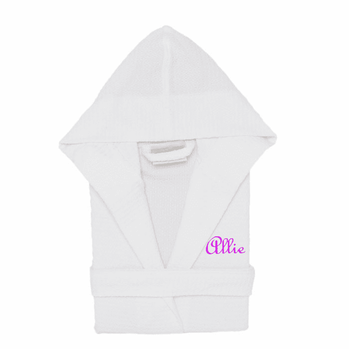 Personalized 100% Cotton Child's Size Waffle Robe White