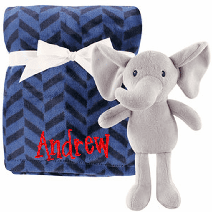 PERSONALIZED 2 Piece Baby Gift Crib Blanket and Plush Elephant Toy Blue Chevron Design