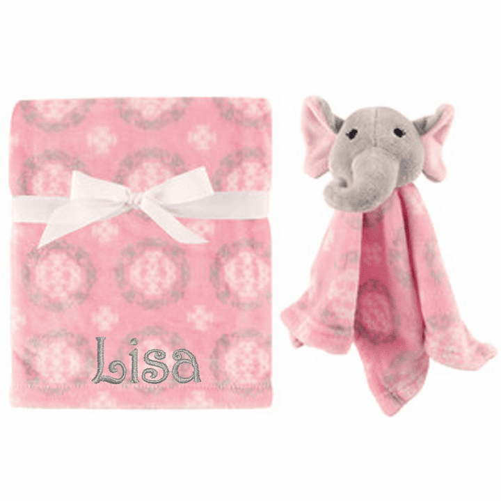 PERSONALIZED 2 Piece Baby Gift Crib Blanket and Plush Elephant Toy Pink Medallion Design