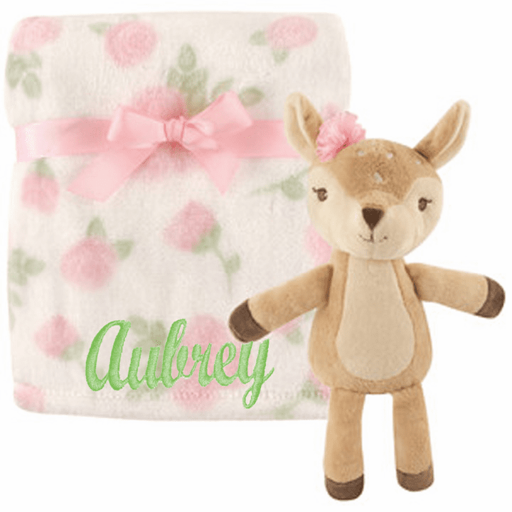 PERSONALIZED 2 Piece Baby Gift Crib Blanket and Plush Fawn Toy Pink Floral Design