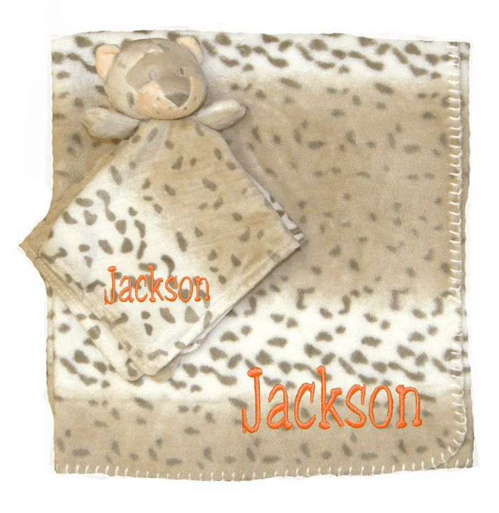 PERSONALIZED 2 Piece Baby Gift Crib Blanket and Plush Leopard Toy Leopard Print Design