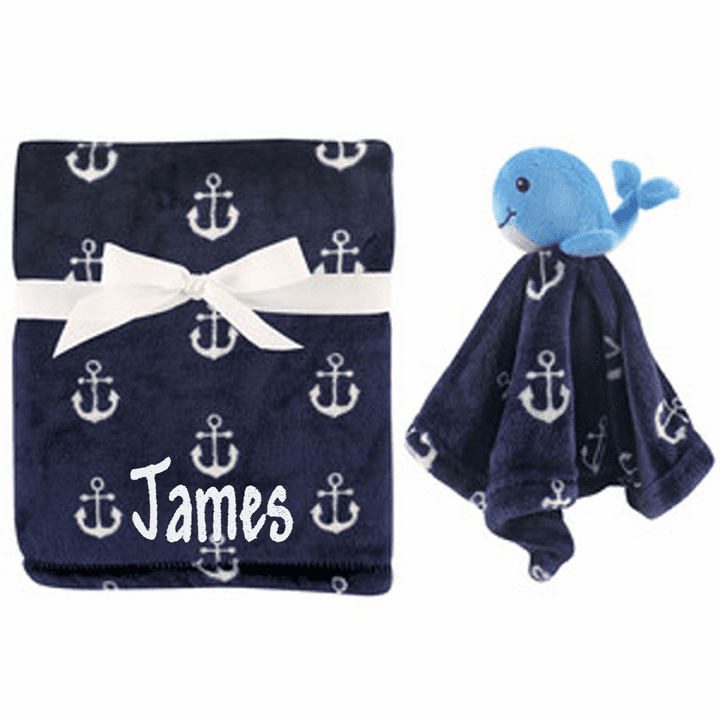 PERSONALIZED 2 Piece Baby Gift Crib Blanket and Security Toy Navy Blue Anchor & Whale Designt