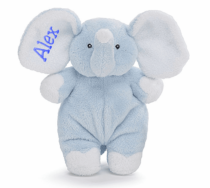 PERSONALIZED Adorable Light Blue Elephant Rattle