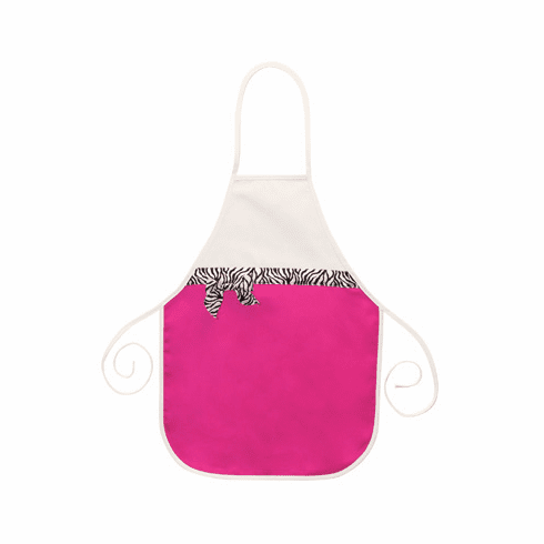 Personalized Adult Ribbon Apron -Hot Pink with Zebra Ribbon Trim Personalize Me