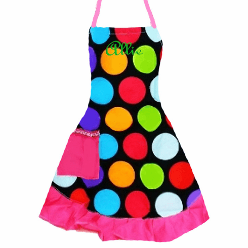 PERSONALIZED Adult Size Black & Multi-Color Polka Dot Pattern Apron with Pink trim