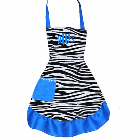 PERSONALIZED Adult Size Black, White & Blue Zebra Pattern Apron