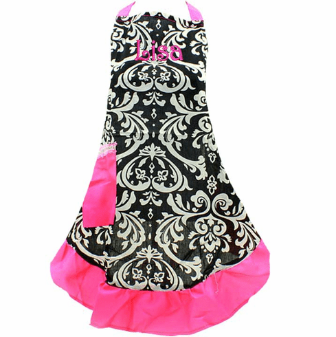 PERSONALIZED Adult Size Black & White Damask Pattern Apron with Hot Pink trim
