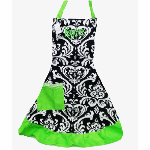 PERSONALIZED Adult Size Black & White Damask Pattern Apron with Lime Green trim