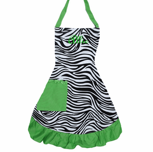 PERSONALIZED Adult Size Black, White & Lime Zebra Pattern Apron