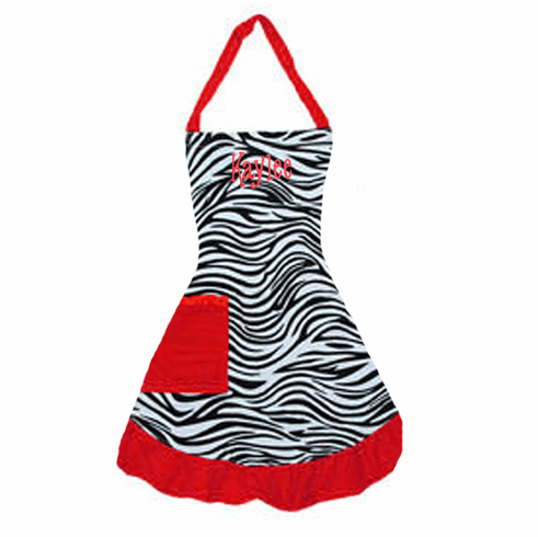 PERSONALIZED Adult Size Black & White Zebra Pattern Apron with Red trim