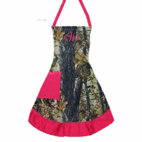 PERSONALIZED Adult Size Camouflage Print Apron Pink Trim
