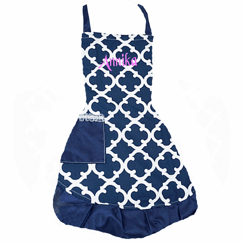 PERSONALIZED Adult Size Navy & White Quadrafoil Pattern Apron