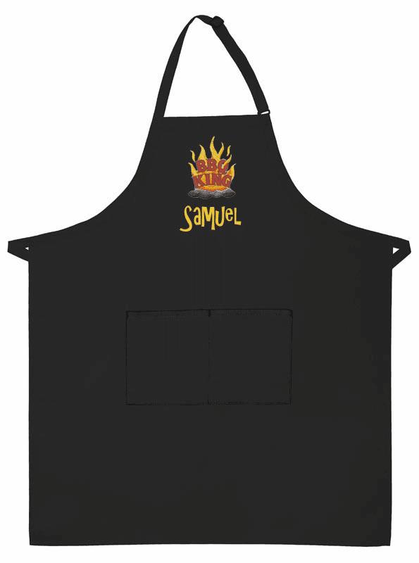 PERSONALIZED Adult Size Two Pocket Black BBQ Apron Grill King