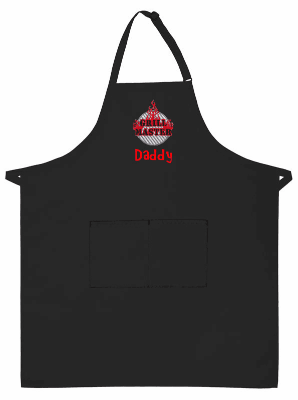 PERSONALIZED Adult Size Two Pocket Black BBQ Apron Grill Master