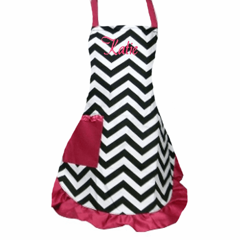 PERSONALIZED Adult Size White & Black Chevron Pattern Apron with Hot Pink trim