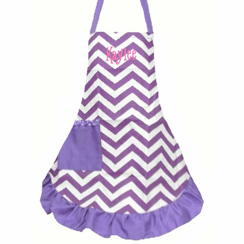 PERSONALIZED Adult Size White & Lavender Chevron Pattern Apron with lavender trim