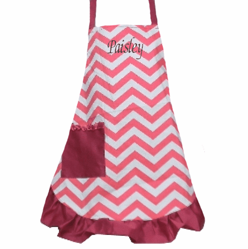 PERSONALIZED Adult Size White & Pink Chevron Pattern Apron with Pink trim