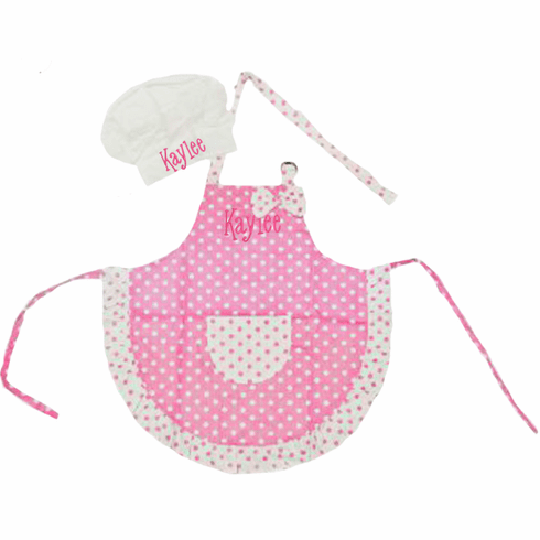 PERSONALIZED Apron & Chef's Hat Child Size Light Pink Polka Dots