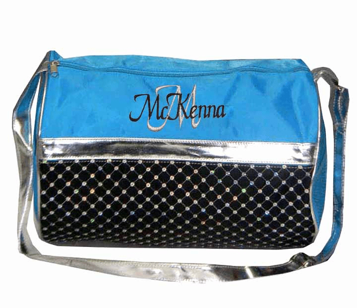 Personalized Aqua & Black with Sequins Dance Gymnastics Duffel Everyday