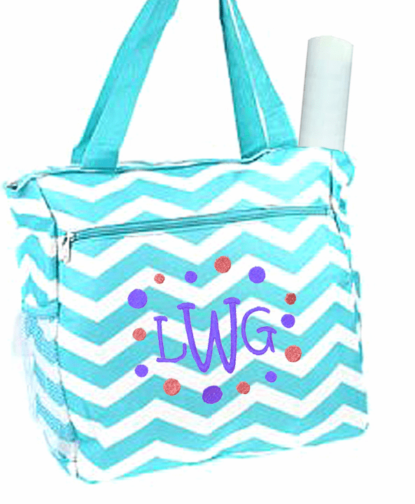 Personalized Aqua & White Chevron Pattern Diaper Bag w/Changing Pad