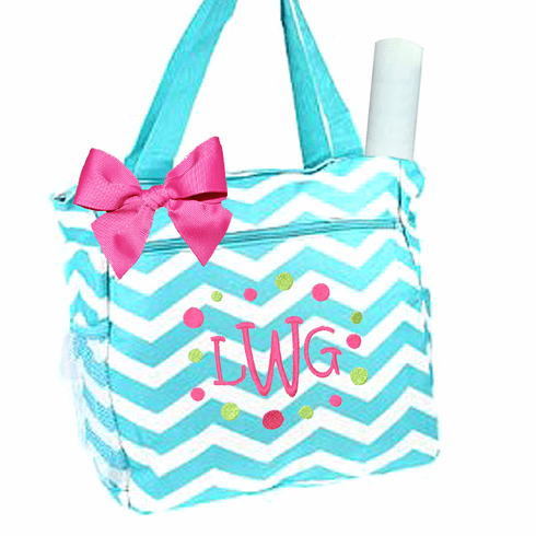 Personalized Aqua & White & White Anchor Pattern Diaper Bag w/Changing Pad