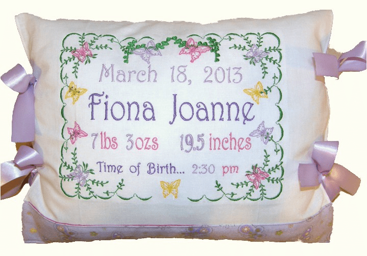 "Personalized Baby Birth Announcement Pillow ""Butterflies"" Design"