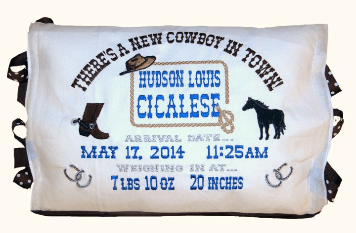 "Personalized Baby Birth Announcement Pillow ""Cowboy"" Design"