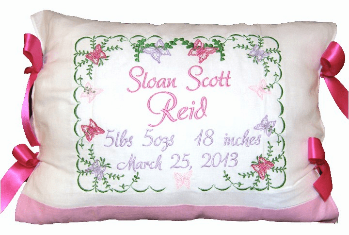 Personalized Baby Birth Certificate Pillow Butterflies Design Pinks