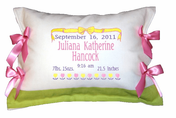 Personalized Baby Birth Certificate Pillow Tulips Design