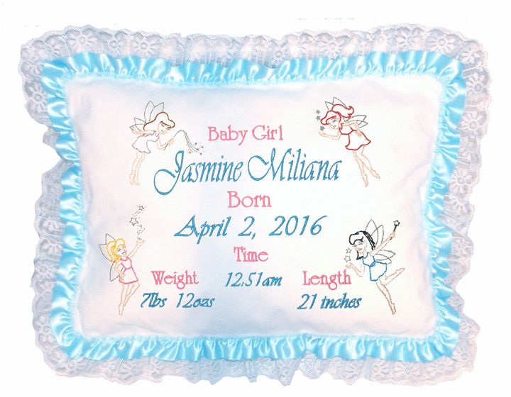 "Personalized Baby Birth Pillow ""Fairies"" Design Aqua Ribbon Lace"