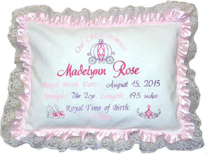 "Personalized Baby Birth Pillow ""Princess"" Design Light Pink Ribbon Lace"