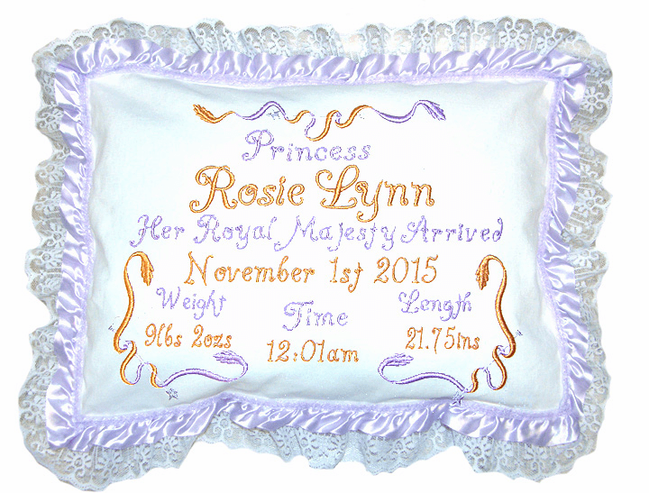 "Personalized Baby Birth Pillow ""Sweet Princess"" Design Lavender Ribbon Lace"