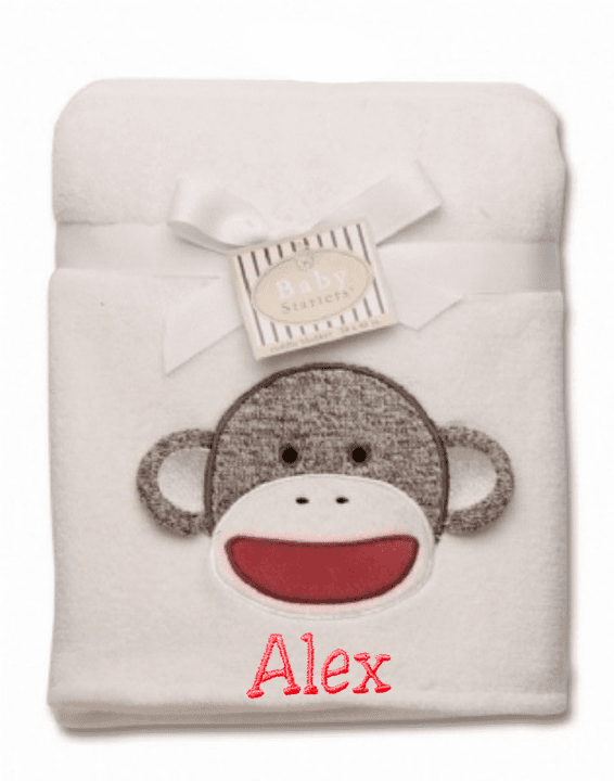 "PERSONALIZED Baby Blanket 30"" x 40"" Ivory or Pink Sock Monkey Design Soft Minky"