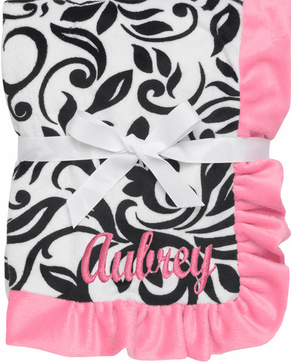 Personalized Baby Blanket Black & White Damask Pink Trim and White Satin Lining