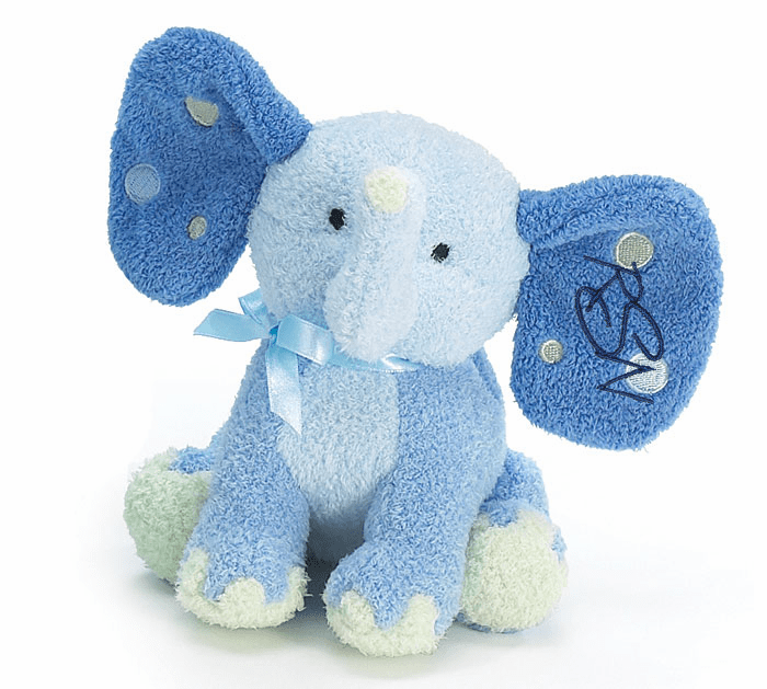 Personalized Baby Blue Dotty Ears Plush Elephant