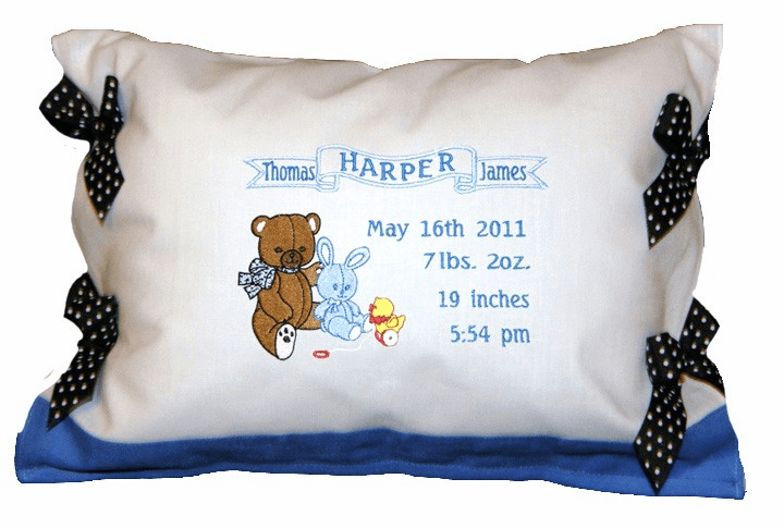 Personalized Baby Boy Birth Announcement Pillow Teddy Bear Design