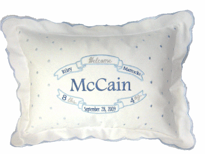 Personalized Baby Boy Birth Certificate Announcement Pillow Blue Swiss Dots & Scallops