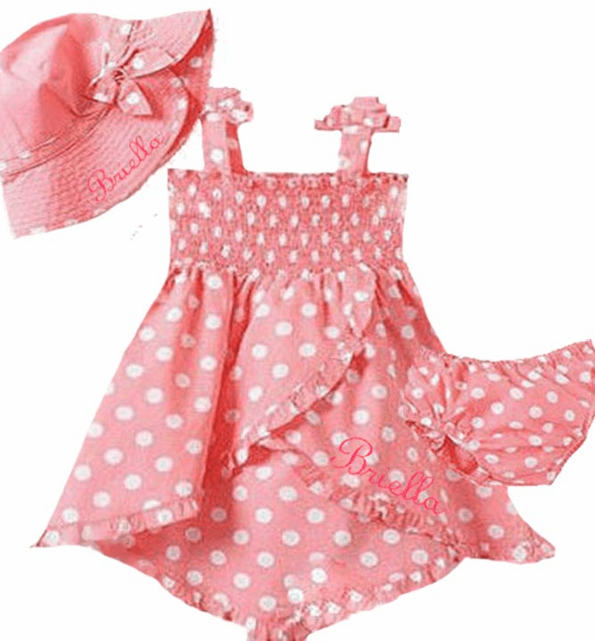 Personalized Baby Girl 3 Piece Set , Dress, Hat, Panties Pink Polkadots