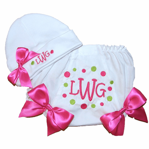 Personalized Baby Girl Beanie & Bloomers Set Lime & Hot Pink Monogram