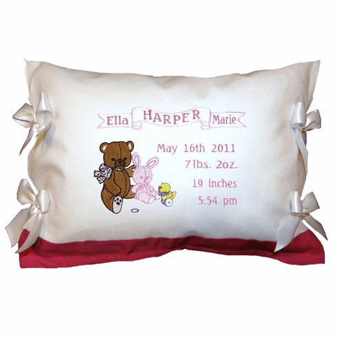 Personalized Baby Girl Birth Announcement Pillow Teddy Bear Design