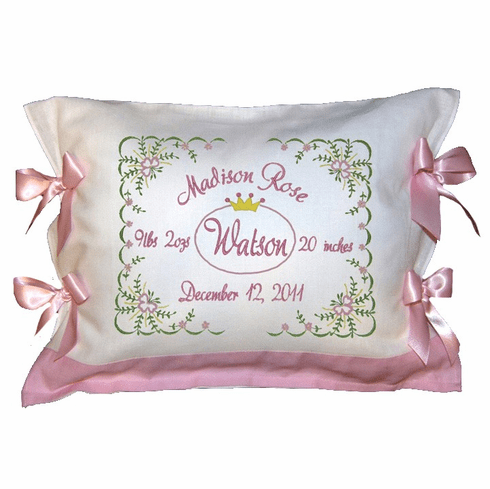 Personalized Baby Girl Birth Certificate Pillow Flowers Design