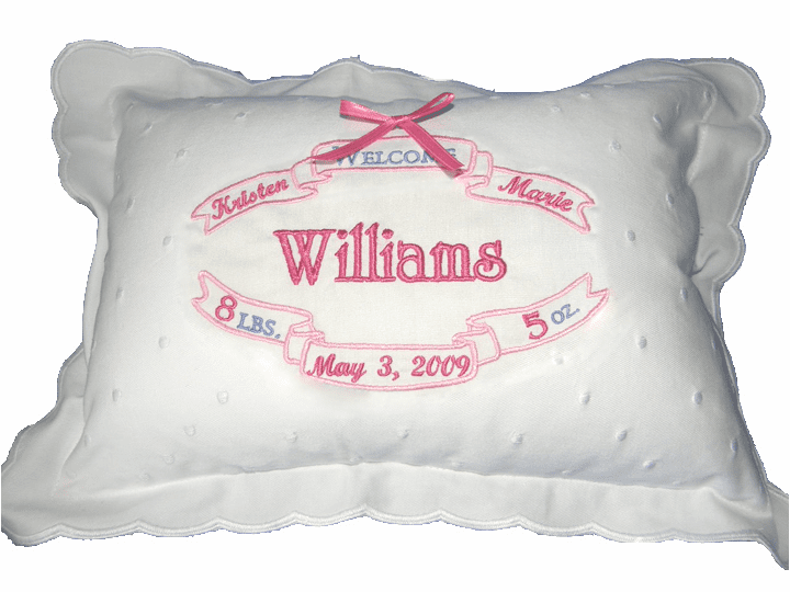 Personalized Baby Girl  Birth Certificate Pillow Pink Swiss Dot & Scallops
