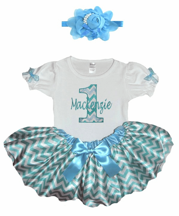 Personalized Baby Girl Birthday Satin Aqua ChevronTutu, Onezee & Flower Headband