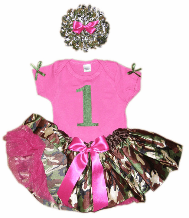 Personalized Baby Girl Birthday Satin Green Camo Camouflage Print Tutu, Onezee & Flower HB